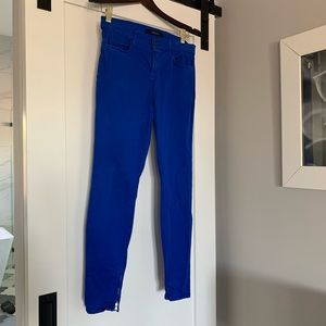 Royal blue J Brand skinny jeans with zippers
